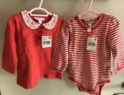 Pumpkin Patch Girls Long Sleeve Top And Bodysuit BNWT Size 0 (6 To 12mths)
