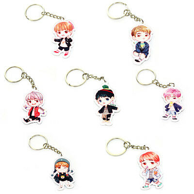 KPOP BTS Bangtan Boys Keychain Cute Cartoon Acrylic Pendant Metal Keyring UK