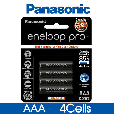 Panasonic Eneloop Pro NiMH AAA Rechargeable Batteries 900mAH 4 Pack