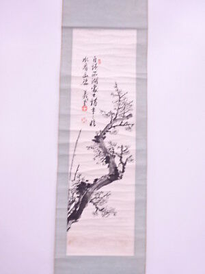 3735454: Japanese Wall Hanging Scroll / Hand Painted / Ume Blossom