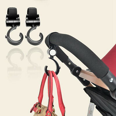 Buggy Hooks x2 - Large Pushchair Shopping Bag Hook - Mum Pram Handy Carry Clip