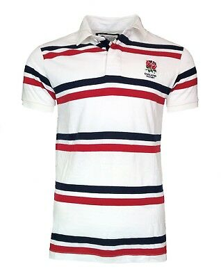 MENS SMALL Official ENGLAND RFU 1871 Cotton Striped Polo Shirt Rugby Top T White
