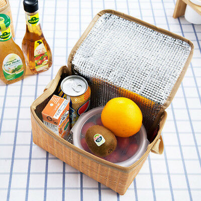 Portable Insulated Thermal Cooler Rattan Picnic Lunch Bag Box Case TravelCamping