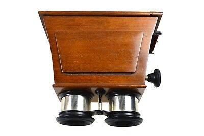 Antique 12 by 6 cm Mahogany Stereo Viewer or Stereoscope. German.