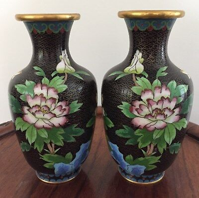 Pair 19th/20thc Chinese Cloisonne Vase Flowers Motifs 18.5cm tall