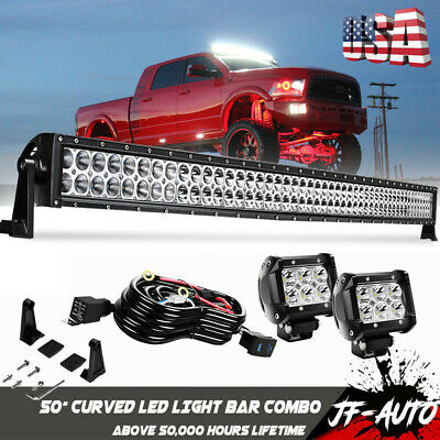 50'' CURVED LED Light Bar Combo +Pods +Wiring Harness For TOYOTA 4Runner on