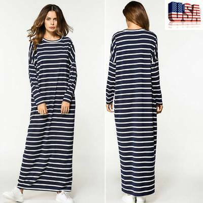 Women Muslim Long Sleeve Stripe Loose Islamic Robe Abaya Kaftan Maxi Party Dress