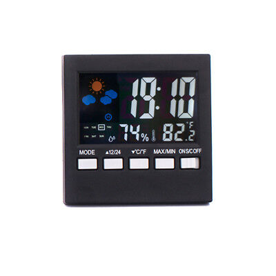 LCD Screen Temperature Clock Radio  LED Wall Digital Weather Desk Alarm Clock