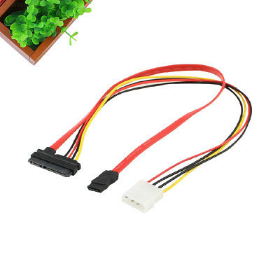 SATA 7+15Pin to 7Pin+4Pin Hard Drive Cable Wire Lead IDE Power Cord Adapter 50CM