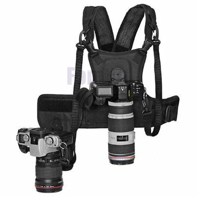 Multi 2 Camera Carrying Photographer Vest with Side Holster for Canon Nikon DSLR