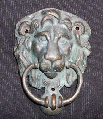 Good Sized Original Antique Heavy Verdigris Brass Lions Head Door Knocker