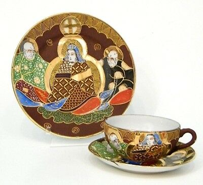 OLD ANTiQUE ASiAN JAPAN SATSUMA IMMORTALS MORiAGE TRiO CUP SAUCER & PLATE GEiSHA