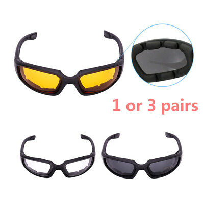 1,3 Motorcycle Sport Biker Riding Glasses Soft Padded Wind Resistant Sunglasses