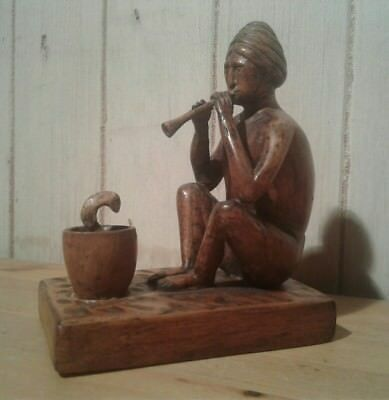 Antique Indian folk art carved wooden snake charmer