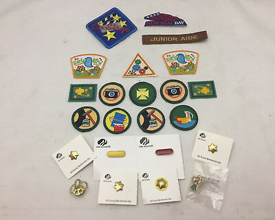Girl Scout Patch & Pin Lot 15 Patches & 7 Pins Badges Camera Early Bird Star