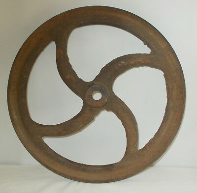 "Vintage Unique 16"" Large Farm Barn Pulley Wheel Cast Iron Steampunk Industrial"
