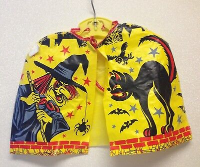 Vintage 1950s Collegeville Halloween Costume Cape Witch Black Cat with hanger