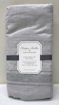 NEW Pottery Barn KIDS Monique Lhuillier Linen Yarn Dye Nursery Crib Skirt, GRAY