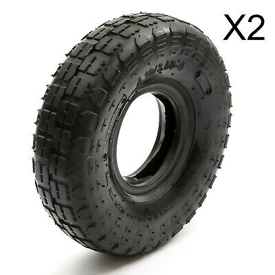 2 x Tyre 4.10 / 3.50-4 Tire 410/3.50-4 Wheelbarrow Mower Sack Truck