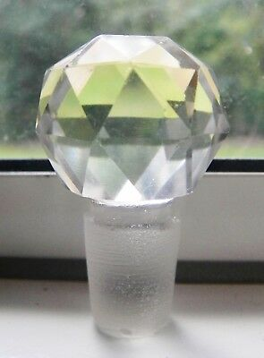 Antique Round Faceted Clear Glass Bottle Stopper Topper Apothecary/Perfume