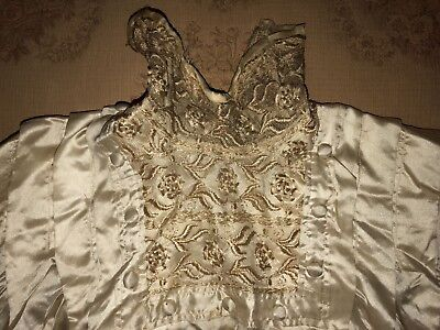 Antique VICTORIAN EDWARDIAN Net Lace BLOUSE Pintucks Repurpose Study Cream