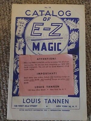 VINTAGE CATALOG OF E-Z MAGIC No. 16 Louis Tannen 1953 copyrighted 64 pages -