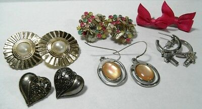 A JOB-LOT OF 6x VINTAGE PAIRS OF EARRINGS VARIOUS TYPES & STYLES OF (PIERCED)