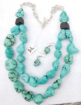 Turquoise Blue Stone Necklace & Pair Earrings, 2 Strand, Silver Tn., $75 Price