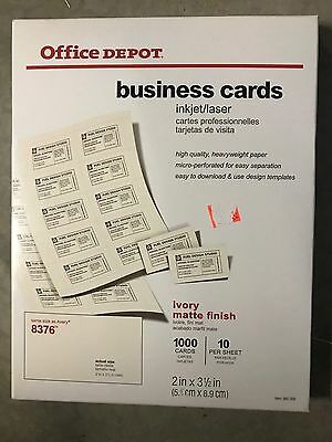 """2"""" x 3 1/2"""" Office Depot Brand Ivery Business Cards Pack Of 1,000; 8376"""