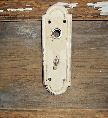Vtg Heavy Brass White Chippy Old Door Knob Back Plate Thumb Latch Arts/crafts