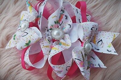 "Handmade Unicorn Boutique Hair Bow 6"" inch kawaii sparkle tulle kitsch cute"