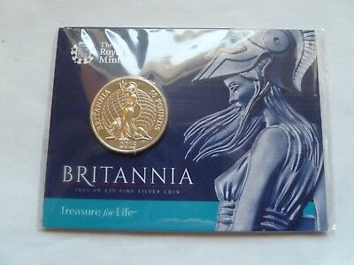 Britannia 2015 UK £50 Fine .999  Silver Coin in Royal Mint Sealed Pack.