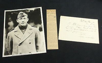 Brigadier General Adrian S. Fleming Signed Military Letter, WWI Photo & Obituary