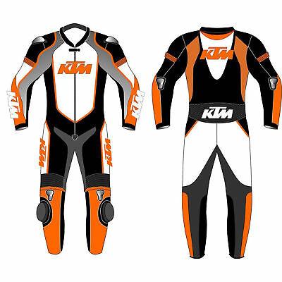 KTM Professional Men's Motorbike Motorcycle Racing one & Two Piece Leather Suit