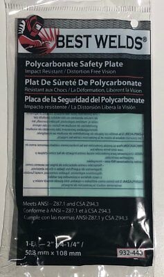 """(2) Best Welds Polycarbonate Clear Safety Plate Lens 2"""" x 4 1/4""""   932-440"""