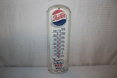 "Vintage 1950's Pepsi Cola Soda Pop Gas Station 27"" Metal Thermometer Sign"