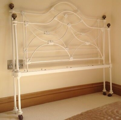 Antique Victorian Brass and Iron Bedstead 4ft small double (head and foot only)