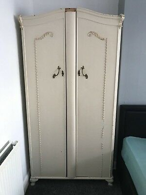 Vintage Louis French Provincial Style Wardrobe Antique Cream Double Cupboard