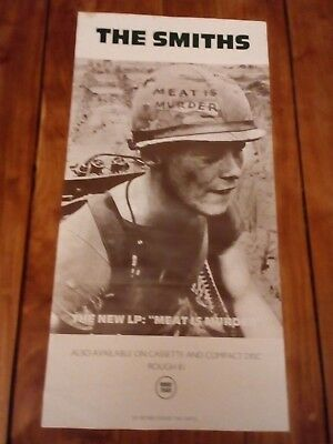 """ORIGINAL VGC SMITHS PROMO POSTER MID 80s MEAT IS MURDER 24"""" X 11 1/2"""""""