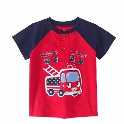 Red Fire Truck - Baby Boy Short Sleeve Graphic Henley T-Shirt NWT