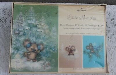 """Vintage Hallmark Christmas Greeting Cards Box Of 15 ~ Sealed """"little Miracles"""""""