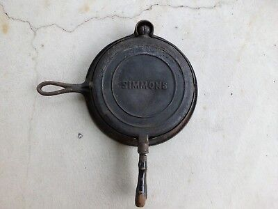 Vintage Simmons Keen Kutter Cast Iron Waffle Iron with Base and Wood Handles