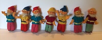 Vintage 7 Dwarfs From Snow White Made In Japan Felt Clothes Seven