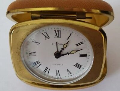 Vintage Europa 2 Jewel Travel Alarm Folding Round Face Clock In Working.order