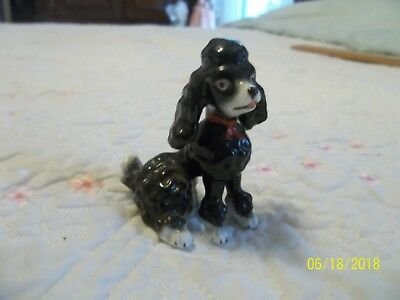 """Miniature Porcelain ~Black & White Poodle w/ Red bow ~ 2 1/4"""" ~Too cute ~ Mint"""