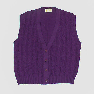 Pendleton Sweater Vest Mens Large Cable Knit Purple Button Front 100% Wool Work