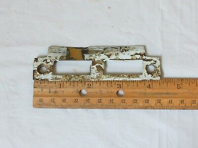 "Antique Solid Brass Mortise door bolt lock latch strike plate 4 1/4"" old patina"