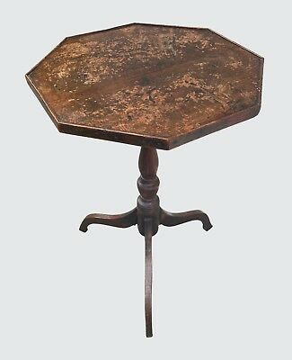 Early 19Th C George Iii Octagonal Yew Wood Antique Candle Stand