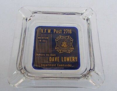 Vintage WEIRTON WV GLASS ASHTRAY VFW Panhandle Post 2716 DAVE LOWERY 50s or 60s