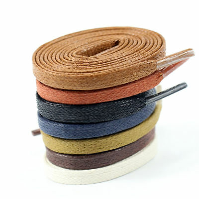 New Flat Waxed Shoelaces Dress Canvas Sneaker Boots Shoe Laces Unisex Strings